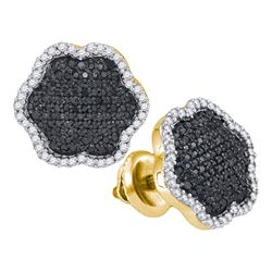 0.50 CTW Black Color Diamond Cluster Earrings 10KT Yellow Gold - REF-34Y4X