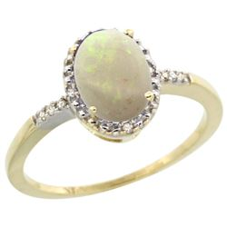 Natural 0.73 ctw Opal & Diamond Engagement Ring 14K Yellow Gold - REF-22V9F