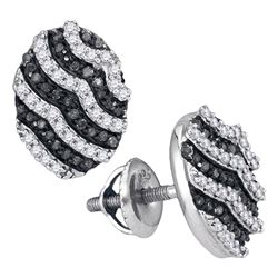 0.45 CTW Black Color Diamond Oval Cluster Earrings 10KT White Gold - REF-26H9M