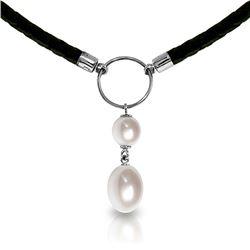 Genuine 6 ctw Pearl Necklace Jewelry 14KT White Gold - REF-47F8Z