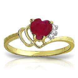 Genuine 1.02 ctw Ruby & Diamond Ring Jewelry 14KT Yellow Gold - REF-35R5P