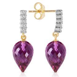 Genuine 19.15 ctw Amethyst & Diamond Earrings Jewelry 14KT Yellow Gold - REF-47K4V