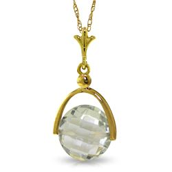 Genuine 3.25 ctw Green Amethyst Necklace Jewelry 14KT White Gold - REF-22A3K