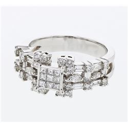 1.39 CTW Diamond Ring 18K White Gold - REF-141Y5X
