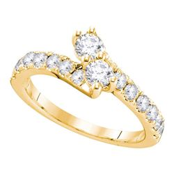 0.51 CTW Diamond 2-stone Hearts Together Bridal Ring 14KT Yellow Gold - REF-52F4N