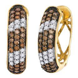 1.02 CTW Cognac-brown Color Diamond Hoop Earrings 10KT Yellow Gold - REF-64W4K