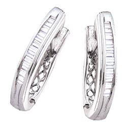 0.47 CTW Diamond Hoop Earrings 10KT White Gold - REF-34K4W