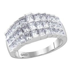 2 CTW Staggered Princess Diamond Arched Fashion Ring 14KT White Gold - REF-224Y9X