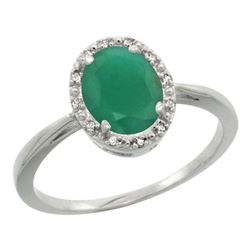 Natural 1.52 ctw Emerald & Diamond Engagement Ring 10K White Gold - REF-29Z7Y