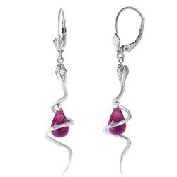 Genuine 4.56 ctw Amethyst & Diamond Earrings Jewelry 14KT White Gold - REF-91V4W