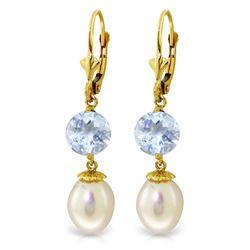 Genuine 11.10 ctw Pearl & Aquamarine Earrings Jewelry 14KT Yellow Gold - REF-30N6R