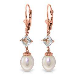 Genuine 9.5 ctw Pearl & Aquamarine Earrings Jewelry 14KT Rose Gold - REF-27F4Z