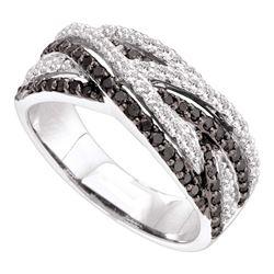 0.85 CTW Black Color Diamond Woven Strand Ring 14KT White Gold - REF-82F4N