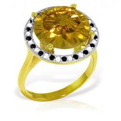 Genuine 6.2 ctw Citrine, White & Black Diamond Ring Jewelry 14KT Yellow Gold - REF-91N8R