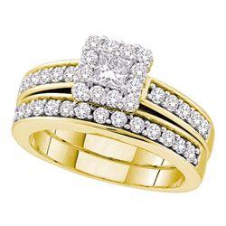 1 CTW Princess Diamond Bridal Engagement Ring 14KT Yellow Gold - REF-109K4W