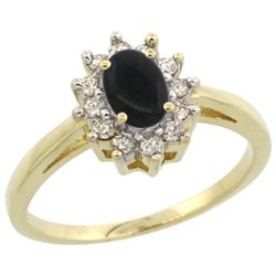 Natural 0.67 ctw Onyx & Diamond Engagement Ring 10K Yellow Gold - REF-38Z4Y