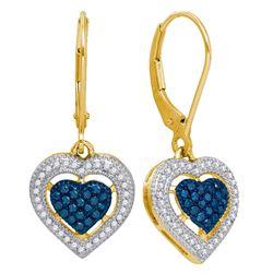 0.40 CTW Blue Color Diamond Heart Dangle Earrings 10KT Yellow Gold - REF-36X2Y