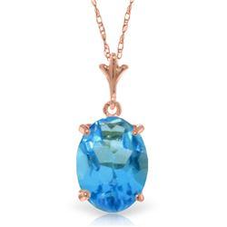 Genuine 3.12 ctw Blue Topaz Necklace Jewelry 14KT Rose Gold - REF-22W2Y