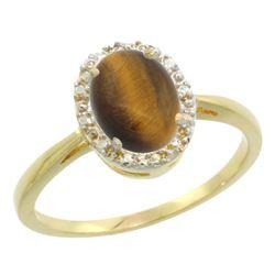 Natural 1.08 ctw Tiger-eye & Diamond Engagement Ring 10K Yellow Gold - REF-19H3W
