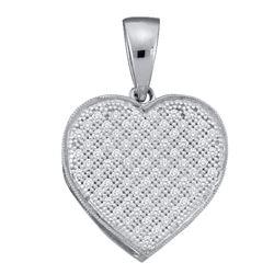 0.25 CTW Diamond Heart Pendant 10KT White Gold - REF-19K4W