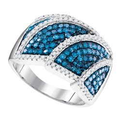 1 CTW Blue Color Diamond Overlay Fashion Ring 10KT White Gold - REF-57K2W