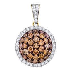1.54 CTW Cognac-brown Color Diamond Circle Cluster Pendant 10KT Yellow Gold - REF-67H4M