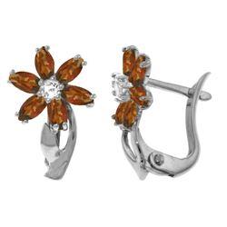 Genuine 1.10 ctw Garnet & Diamond Earrings Jewelry 14KT White Gold - REF-36A3K