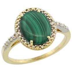 Natural 2.77 ctw Malachite & Diamond Engagement Ring 14K Yellow Gold - REF-32Y4X