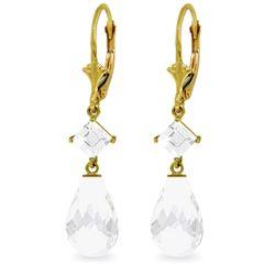 Genuine 11 ctw White Topaz Earrings Jewelry 14KT Yellow Gold - REF-39K3V