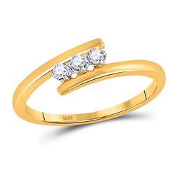 0.10 CTW Diamond 3-stone Bridal Engagement Ring 10KT Yellow Gold - REF-12K2W