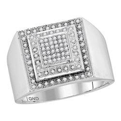 0.30 CTW Mens Diamond Square Cluster Ring 10KT White Gold - REF-44F9N