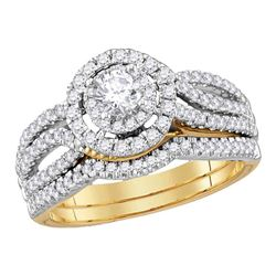 1 CTW Diamond EGL Bridal Wedding Engagement Ring 14KT Yellow Gold - REF-149W9K