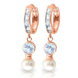 Genuine 4.3 ctw Aquamarine & Pearl Earrings Jewelry 14KT Rose Gold - REF-52A9K