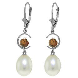Genuine 9 ctw Pearl & Garnet Earrings Jewelry 14KT White Gold - REF-36X3M