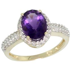 Natural 1.91 ctw Amethyst & Diamond Engagement Ring 10K Yellow Gold - REF-31Y7X