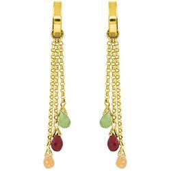 Genuine 4.9 ctw Garnet, Peridot & Citrine Earrings Jewelry 14KT White Gold - REF-43A6K