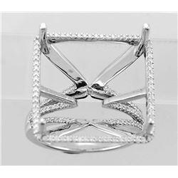 0.31 CTW Diamond Semi Mount Ring 18K White Gold - REF-76R3K