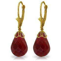 Genuine 29.6 ctw Ruby Earrings Jewelry 14KT Yellow Gold - REF-40V7W