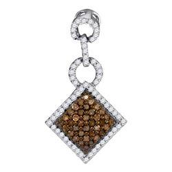0.33 CTW Cognac-brown Color Diamond Diagonal Square Pendant 10KT White Gold - REF-14Y9X