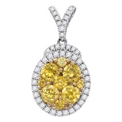 1.95 CTW Yellow Diamond Oval Cluster Pendant 14KT White Gold - REF-224W9K