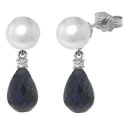 Genuine 8.7 ctw Pearl, Sapphire & Diamond Earrings Jewelry 14KT White Gold - REF-27P6H