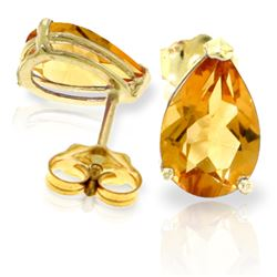 Genuine 3.15 ctw Citrine Earrings Jewelry 14KT Yellow Gold - REF-21X2M