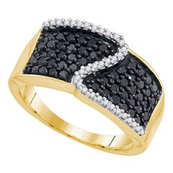 0.75 CTW Black Color Diamond Crossover Ring 10KT Yellow Gold - REF-30W2K