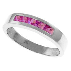 Genuine 0.60 ctw Pink Sapphire Ring Jewelry 14KT White Gold - REF-50N5R