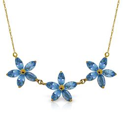 Genuine 4.2 ctw Blue Topaz Necklace Jewelry 14KT Yellow Gold - REF-58T2A