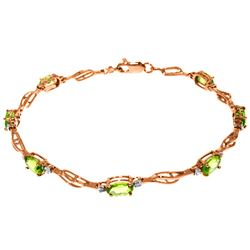 Genuine 3.39 ctw Peridot & Diamond Bracelet Jewelry 14KT Rose Gold - REF-82X5M