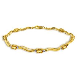 Genuine 2.01 ctw Citrine & Diamond Bracelet Jewelry 14KT Yellow Gold - REF-76P7H