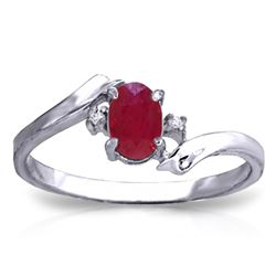 Genuine 0.46 ctw Ruby & Diamond Ring Jewelry 14KT White Gold - REF-29A3K