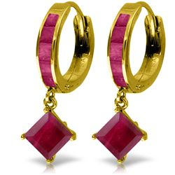 Genuine 4.2 ctw Ruby Earrings Jewelry 14KT Yellow Gold - REF-70Y3F
