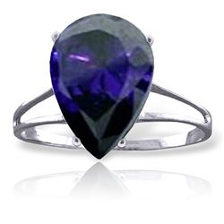 Genuine 4.65 ctw Sapphire Ring Jewelry 14KT White Gold - REF-52V4W